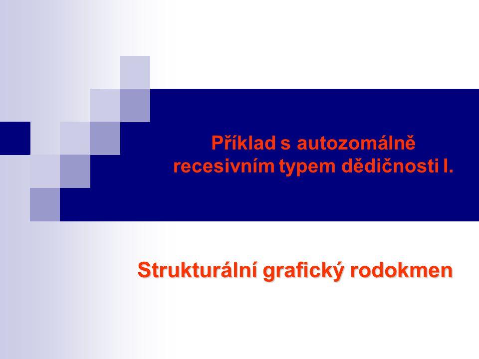 Příklad s autozomálně recesivním typem dědičnosti I. Strukturální grafický rodokmen