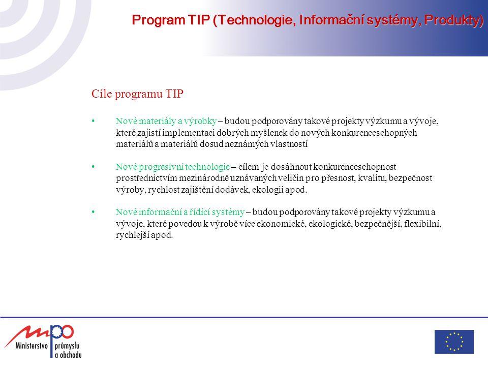 Program TIP (Technologie, Informační systémy, Produkty) Cíle programu TIP Nové materiály a výrobky – budou podporovány takové projekty výzkumu a vývoj