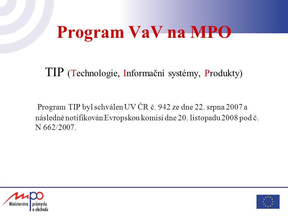 Program VaV na MPO TIP (Technologie, Informační systémy, Produkty) Program TIP byl schválen UV ČR č. 942 ze dne 22. srpna 2007 a následně notifikován