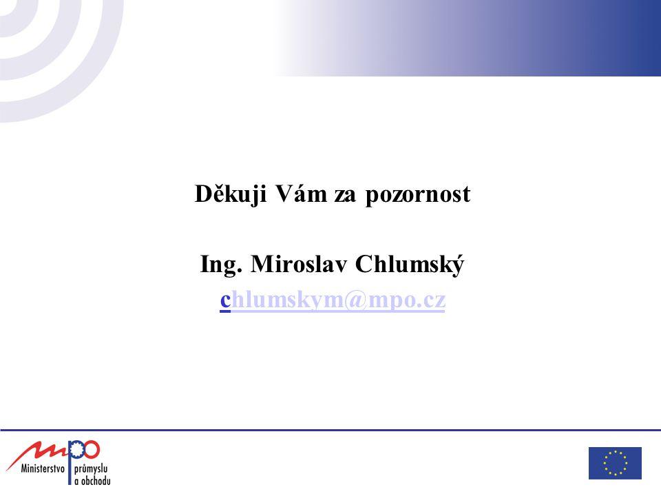 Děkuji Vám za pozornost Ing. Miroslav Chlumský chlumskym@mpo.czhlumskym@mpo.cz