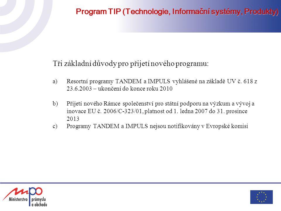 Program TIP (Technologie, Informační systémy, Produkty) Tři základní důvody pro přijetí nového programu: a)Resortní programy TANDEM a IMPULS vyhlášené