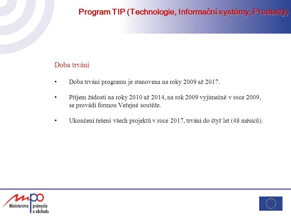 Program TIP (Technologie, Informační systémy, Produkty) Doba trvání Doba trvání programu je stanovena na roky 2009 až 2017. Příjem žádostí na roky 201