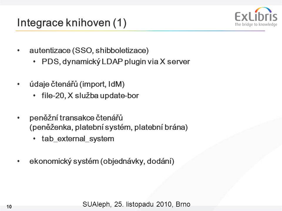 10 SUAleph, 25. listopadu 2010, Brno Integrace knihoven (1) autentizace (SSO, shibboletizace) PDS, dynamický LDAP plugin via X server údaje čtenářů (i