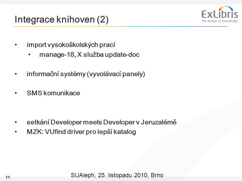 11 SUAleph, 25. listopadu 2010, Brno Integrace knihoven (2) import vysokoškolských prací manage-18, X služba update-doc informační systémy (vyvolávací