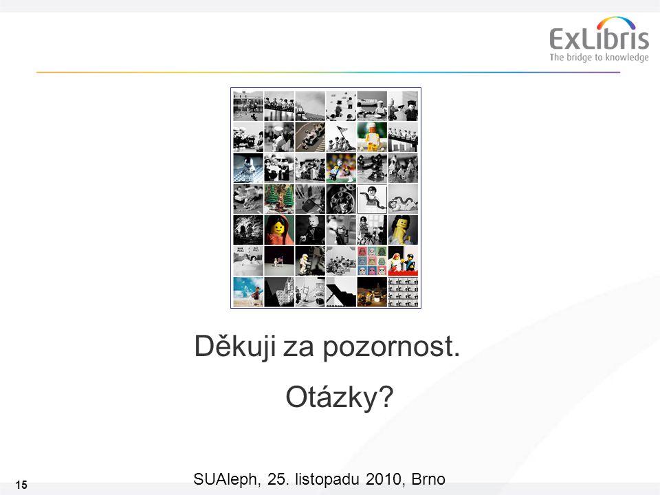 15 SUAleph, 25. listopadu 2010, Brno Děkuji za pozornost. Otázky?