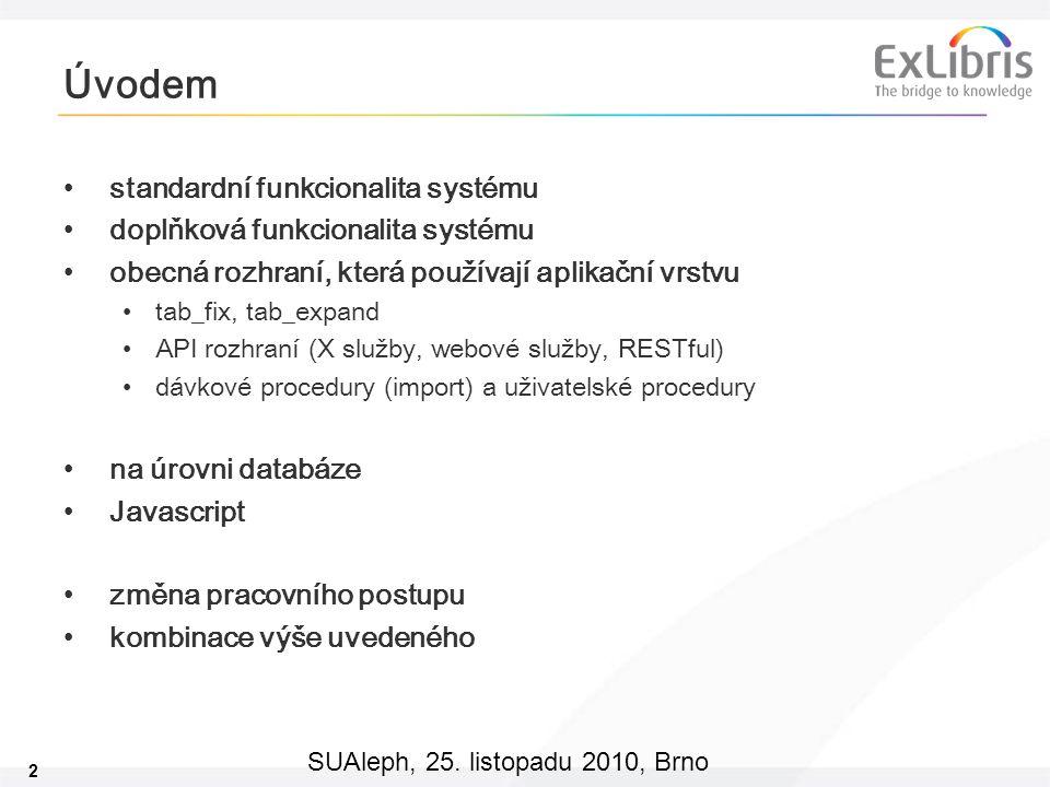 2 SUAleph, 25. listopadu 2010, Brno Úvodem standardní funkcionalita systému doplňková funkcionalita systému obecná rozhraní, která používají aplikační