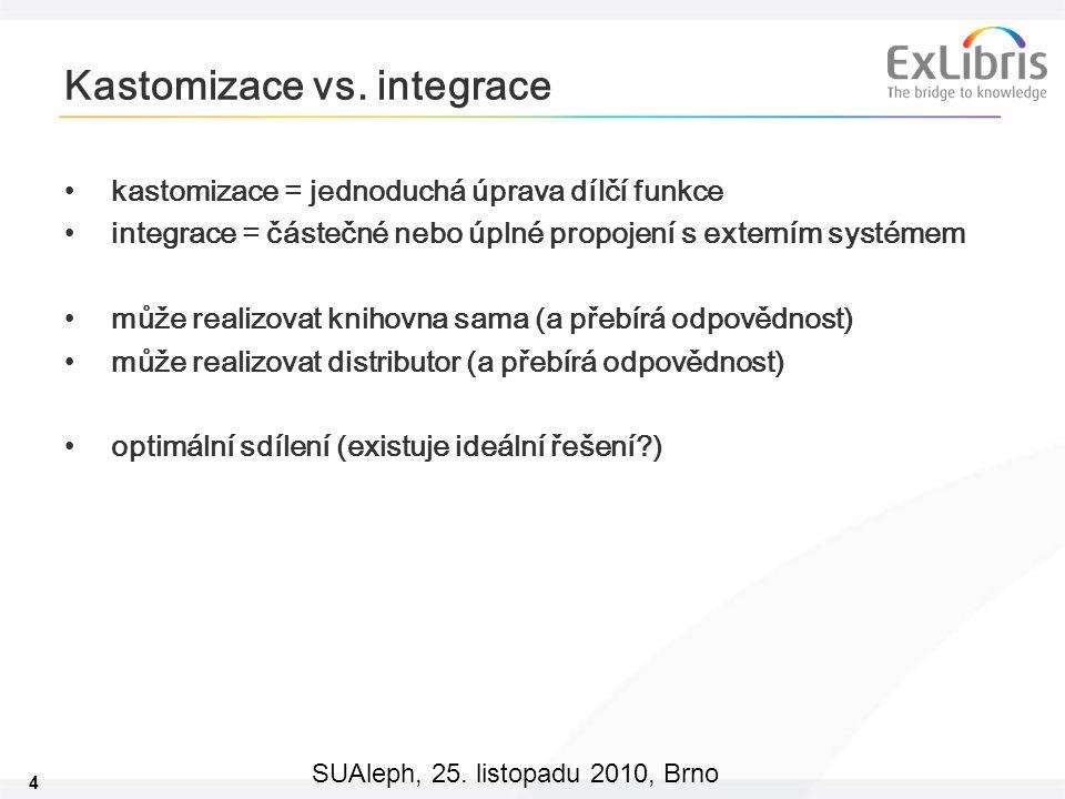 4 SUAleph, 25. listopadu 2010, Brno Kastomizace vs. integrace kastomizace = jednoduchá úprava dílčí funkce integrace = částečné nebo úplné propojení s