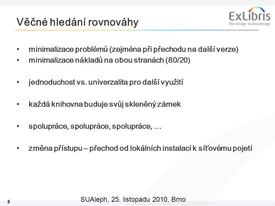 5 SUAleph, 25. listopadu 2010, Brno Věčné hledání rovnováhy minimalizace problémů (zejména při přechodu na další verze) minimalizace nákladů na obou s