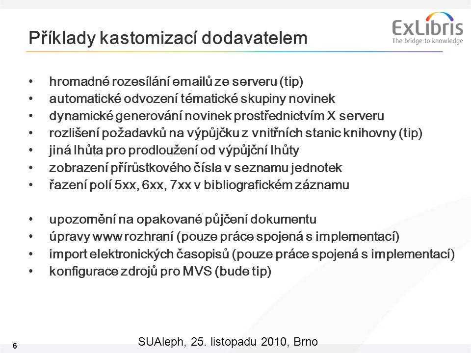 6 SUAleph, 25. listopadu 2010, Brno Příklady kastomizací dodavatelem hromadné rozesílání emailů ze serveru (tip) automatické odvození tématické skupin