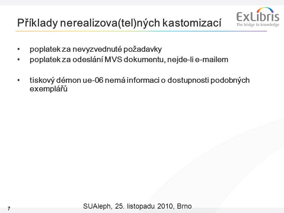7 SUAleph, 25. listopadu 2010, Brno Příklady nerealizova(tel)ných kastomizací poplatek za nevyzvednuté požadavky poplatek za odeslání MVS dokumentu, n
