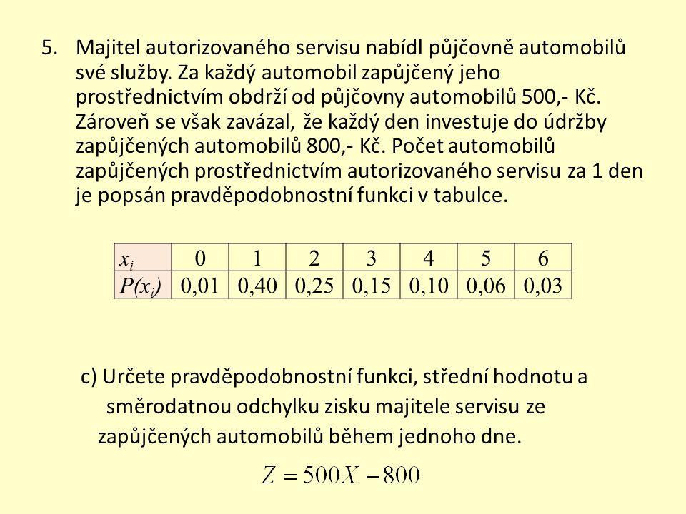 5.Majitel autorizovaného servisu nabídl půjčovně automobilů své služby.