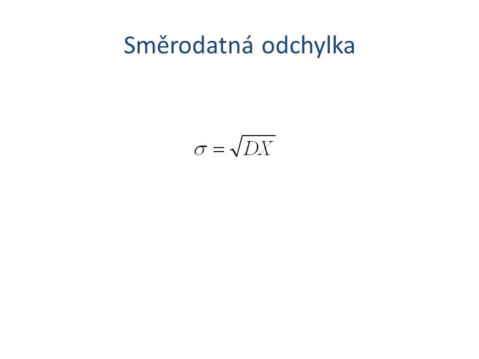 Šikmost  3 = 0 Symetrické rozdělení 3 < 03 < 0 Negativně zešikmené rozdělení 3 > 03 > 0 Pozitivně zešikmené rozdělení