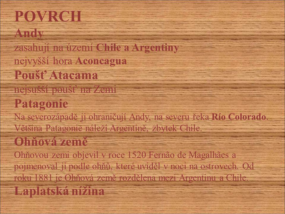 POVRCH Andy zasahují na území Chile a Argentiny nejvyšší hora Aconcagua Poušť Atacama nejsušší poušť na Zemi Patagonie Na severozápadě ji ohraničují A