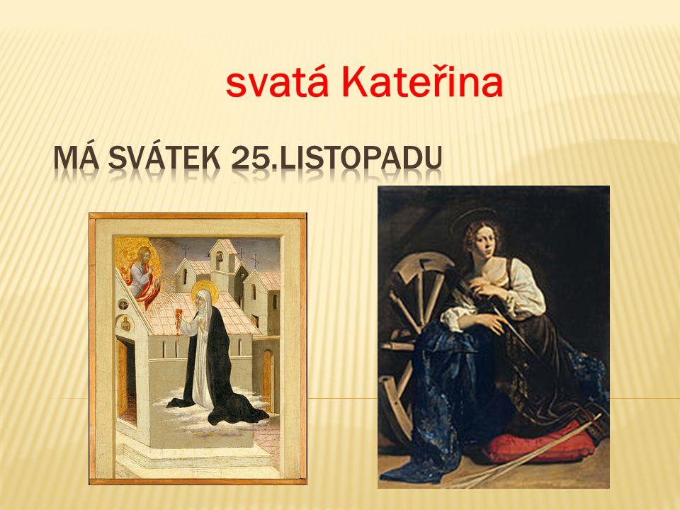  Na svatou Kateřinu schováme se pod peřinu. Svatá Kateřina přichází bíle oděna.