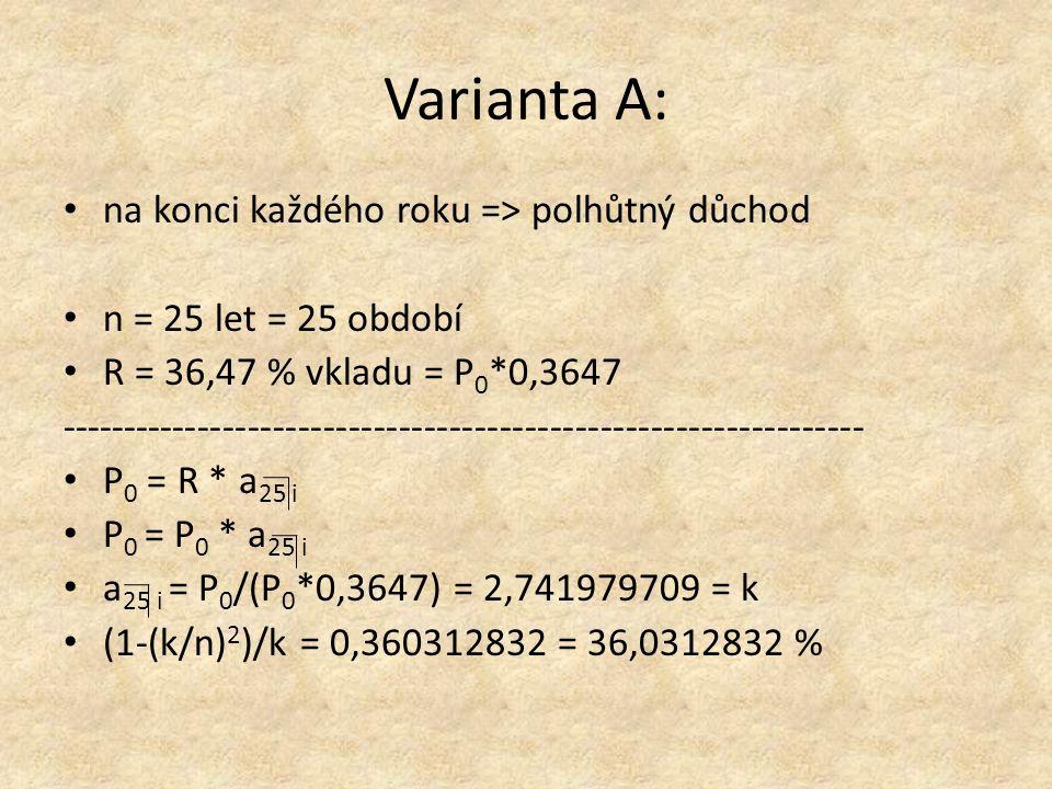 Varianta A: na konci každého roku => polhůtný důchod n = 25 let = 25 období R = 36,47 % vkladu = P 0 *0,3647 ---------------------------------------------------------------- P 0 = R * a 25 i P 0 = P 0 * a 25 i a 25 i = P 0 /(P 0 *0,3647) = 2,741979709 = k (1-(k/n) 2 )/k = 0,360312832 = 36,0312832 %