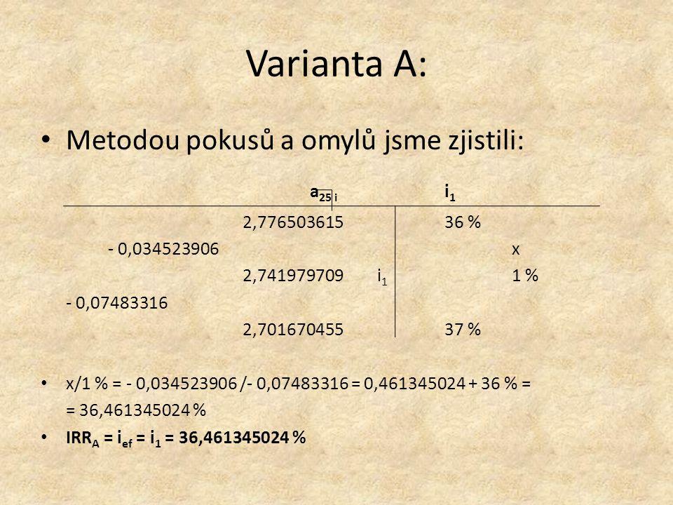 Varianta A: Metodou pokusů a omylů jsme zjistili: a 25 i i 1 2,77650361536 % - 0,034523906x 2,741979709 i 1 1 % - 0,07483316 2,70167045537 % x/1 % = - 0,034523906 /- 0,07483316 = 0,461345024 + 36 % = = 36,461345024 % IRR A = i ef = i 1 = 36,461345024 %