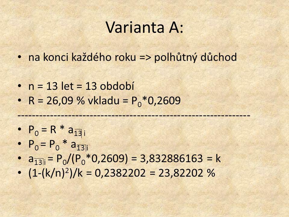 Varianta A: na konci každého roku => polhůtný důchod n = 13 let = 13 období R = 26,09 % vkladu = P 0 *0,2609 ---------------------------------------------------------------- P 0 = R * a 13 i P 0 = P 0 * a 13 i a 13 i = P 0 /(P 0 *0,2609) = 3,832886163 = k (1-(k/n) 2 )/k = 0,2382202 = 23,82202 %