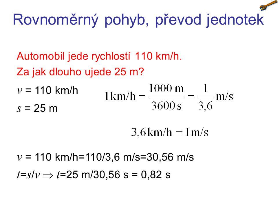 Rovnoměrný pohyb, převod jednotek Automobil jede rychlostí 110 km/h. Za jak dlouho ujede 25 m? v = 110 km/h s = 25 m v = 110 km/h=110/3,6 m/s=30,56 m/