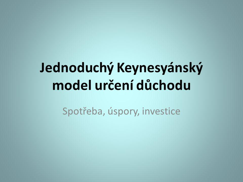 Jednoduchý Keynesyánský model určení důchodu Spotřeba, úspory, investice