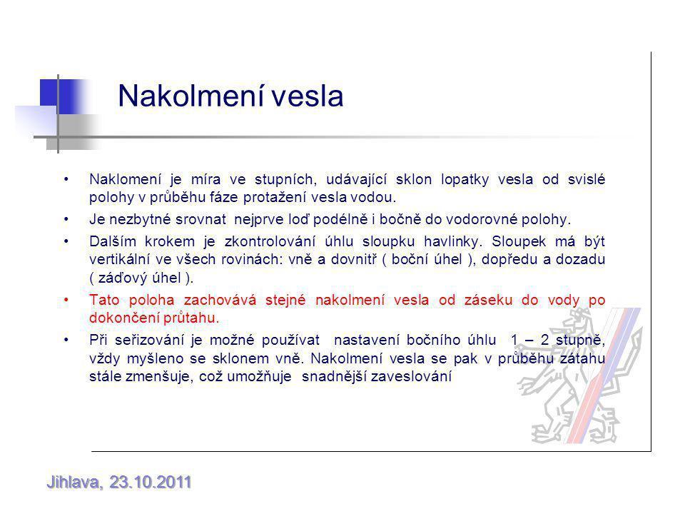 Jihlava, 23.10.2011 Nakolmení vesla Naklomení je míra ve stupních, udávající sklon lopatky vesla od svislé polohy v průběhu fáze protažení vesla vodou.