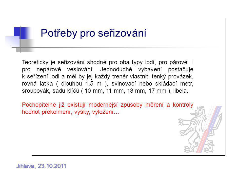 Jihlava, 23.10.2011 Potřeby pro seřizování Teoreticky je seřizování shodné pro oba typy lodí, pro párové i pro nepárové veslování.