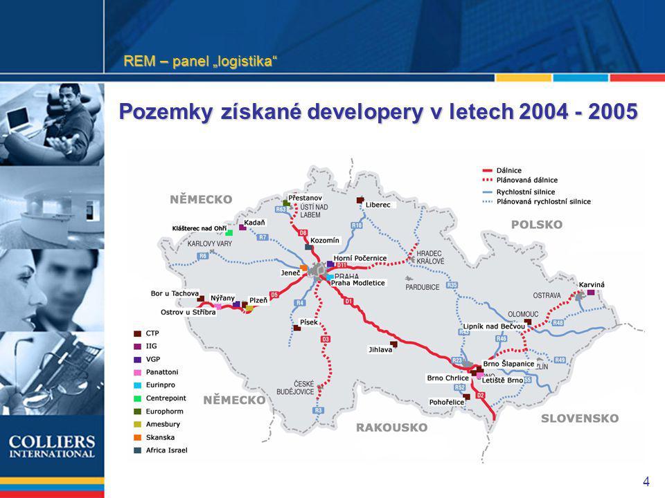 """4 Pozemky získané developery v letech 2004 - 2005 REM – panel """"logistika"""