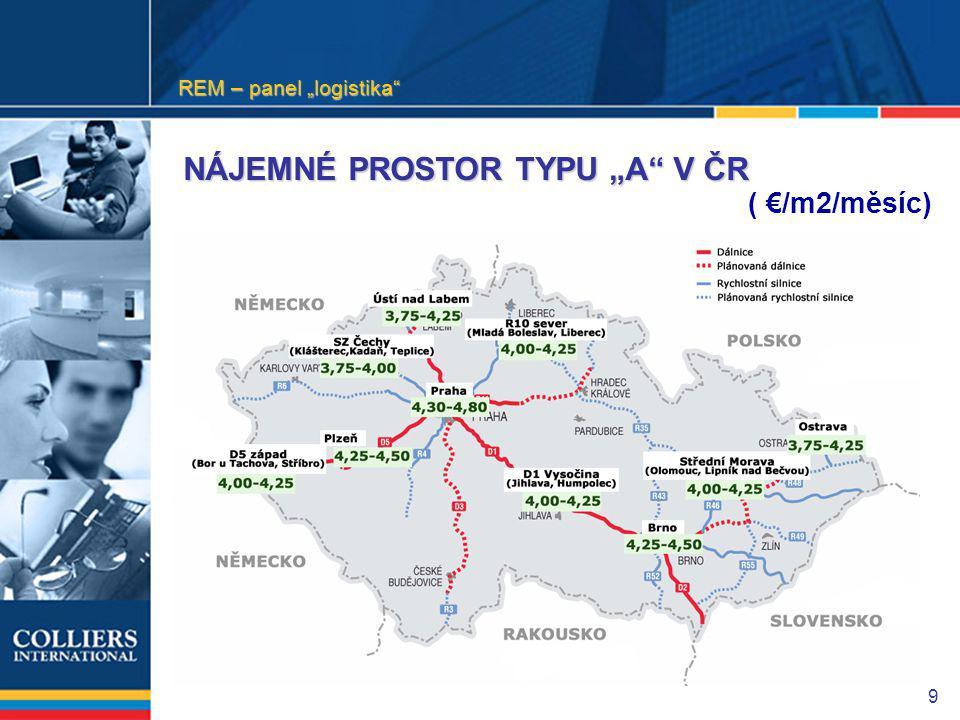 """9 NÁJEMNÉ PROSTOR TYPU """"A V ČR ( €/m2/měsíc) REM – panel """"logistika"""