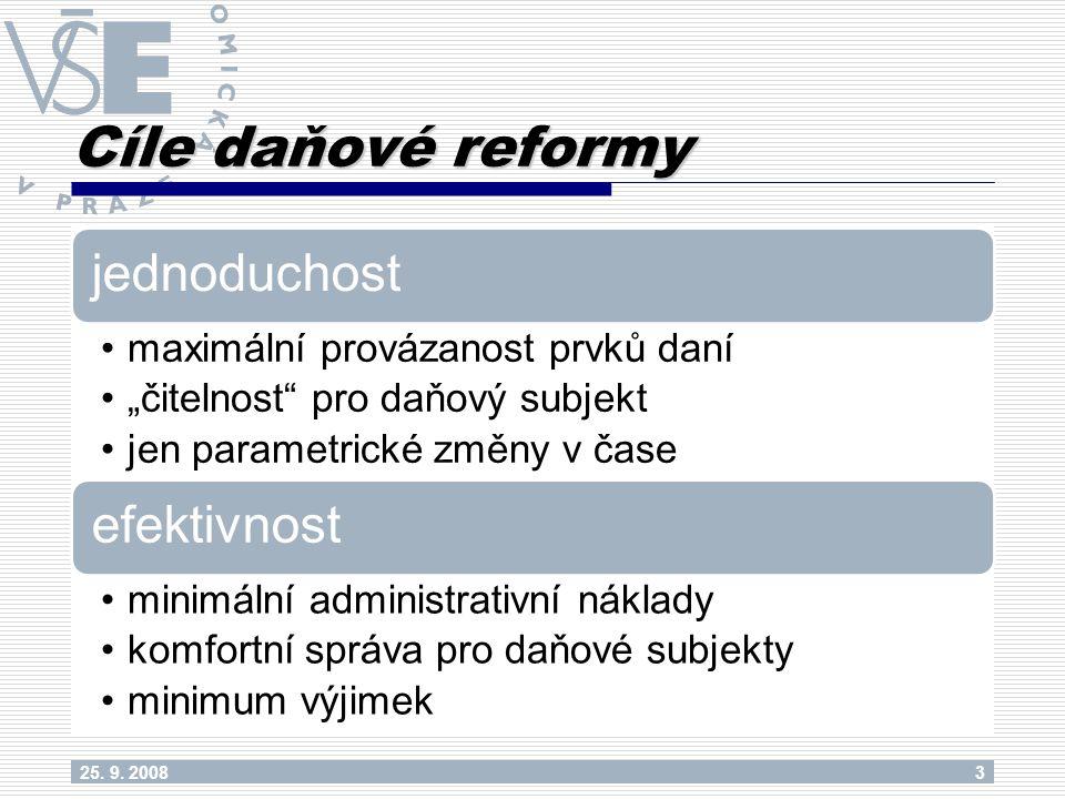 """Cíle daňové reformy jednoduchost maximální provázanost prvků daní """"čitelnost pro daňový subjekt jen parametrické změny v čase efektivnost minimální administrativní náklady komfortní správa pro daňové subjekty minimum výjimek 25."""