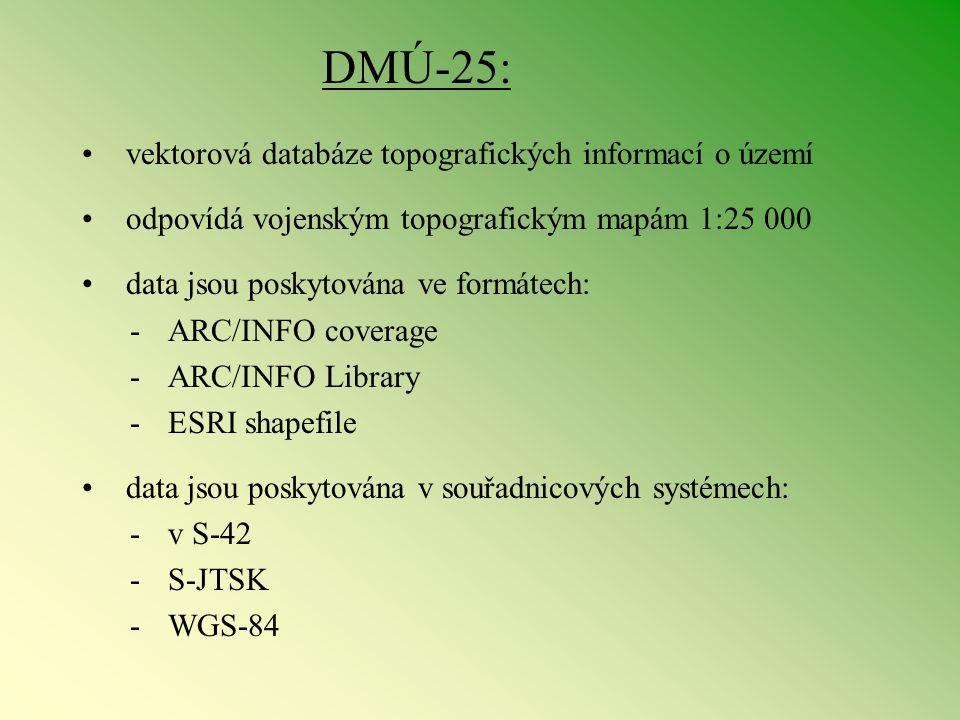 DMÚ-25: vektorová databáze topografických informací o území odpovídá vojenským topografickým mapám 1:25 000 data jsou poskytována ve formátech: - ARC/