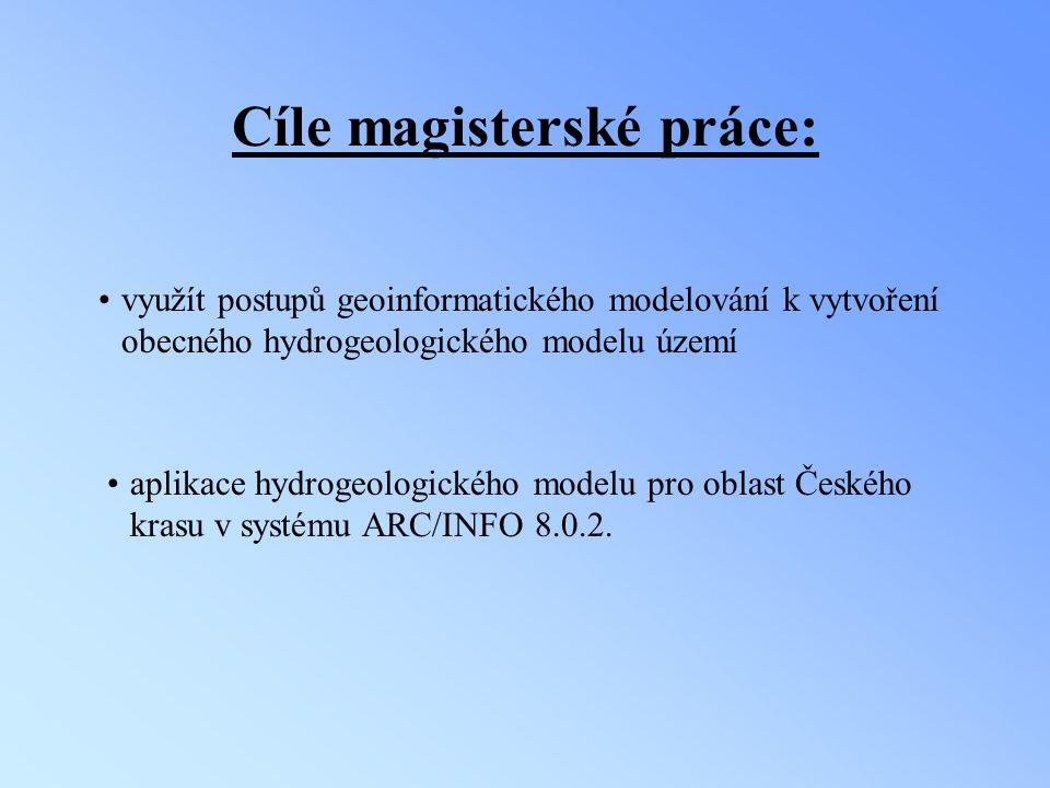 Cíle magisterské práce: využít postupů geoinformatického modelování k vytvoření obecného hydrogeologického modelu území aplikace hydrogeologického mod