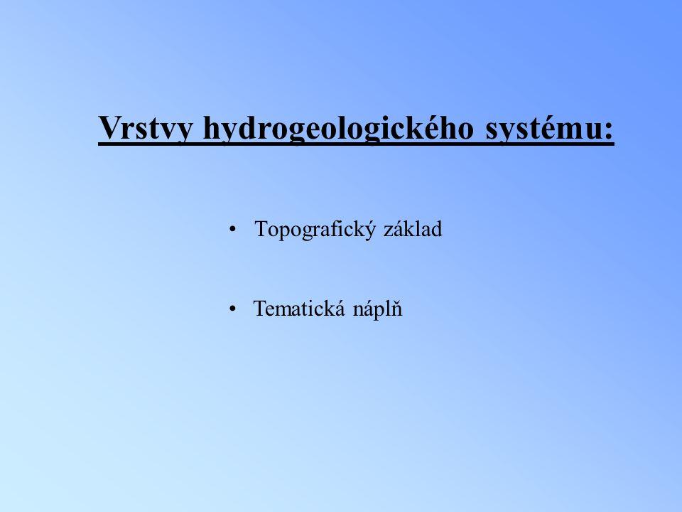 Postup tvorby vrstvy horninového prostředí (hrn_p) digitalizace Základních geologických map ČSSR 1:25 000 a Geologických map odkrytých 1:25 000 na skeneru CONTEX FSC 3040 CHROMA s rozlišením 200 dpi přiřazení souřadnic JTSK rastrovým obrazům (REGISTER a RECTIFY) vektorizace mapového podkladu vybudování polygonové topologie oříznutí vrstvy podle polygonu hrn_p vstup atributových informací –přidání položky do atributové tabulky SOUVRST (písmenná zkratka souvrstvích, která tvoří dané hydrogeologické těleso)