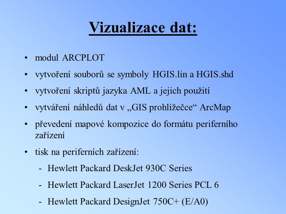 Vizualizace dat: modul ARCPLOT vytvoření souborů se symboly HGIS.lin a HGIS.shd vytvoření skriptů jazyka AML a jejich použití vytváření náhledů dat v