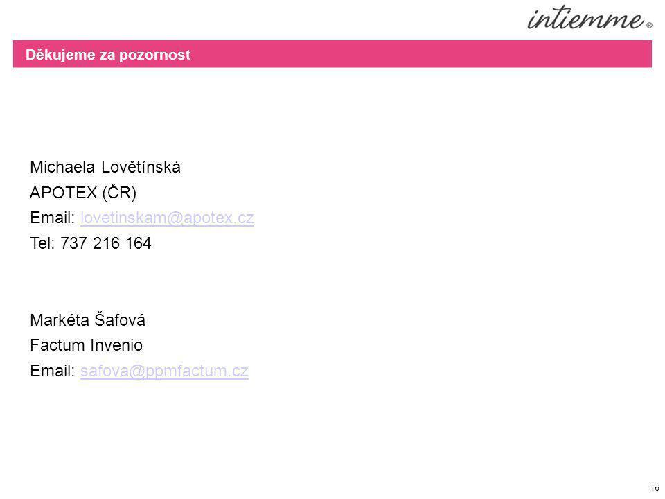 16 Michaela Lovětínská APOTEX (ČR) Email: lovetinskam@apotex.czlovetinskam@apotex.cz Tel: 737 216 164 Markéta Šafová Factum Invenio Email: safova@ppmf