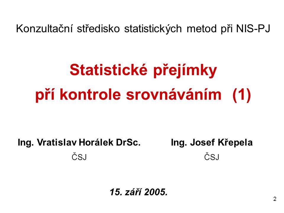 2 Konzultační středisko statistických metod při NIS-PJ Statistické přejímky pří kontrole srovnáváním (1) Ing.