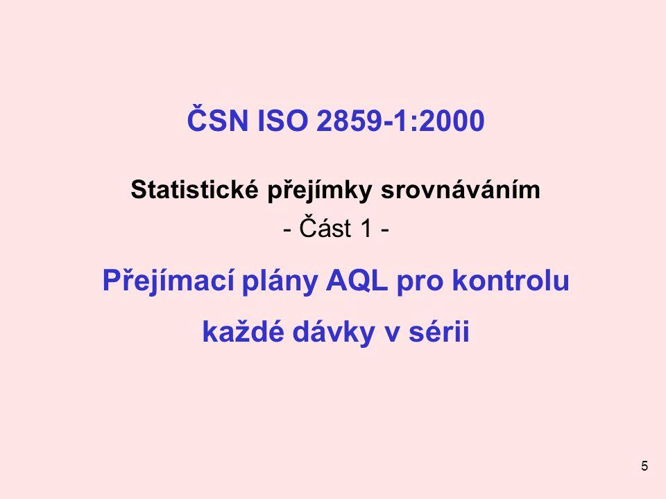 5 ČSN ISO 2859-1:2000 Statistické přejímky srovnáváním - Část 1 - Přejímací plány AQL pro kontrolu každé dávky v sérii