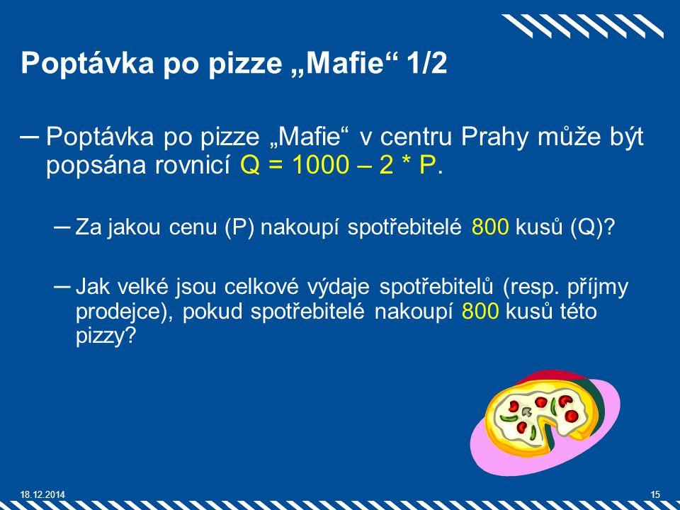 """Poptávka po pizze """"Mafie"""" 1/2 ─Poptávka po pizze """"Mafie"""" v centru Prahy může být popsána rovnicí Q = 1000 – 2 * P. ─Za jakou cenu (P) nakoupí spotřebi"""