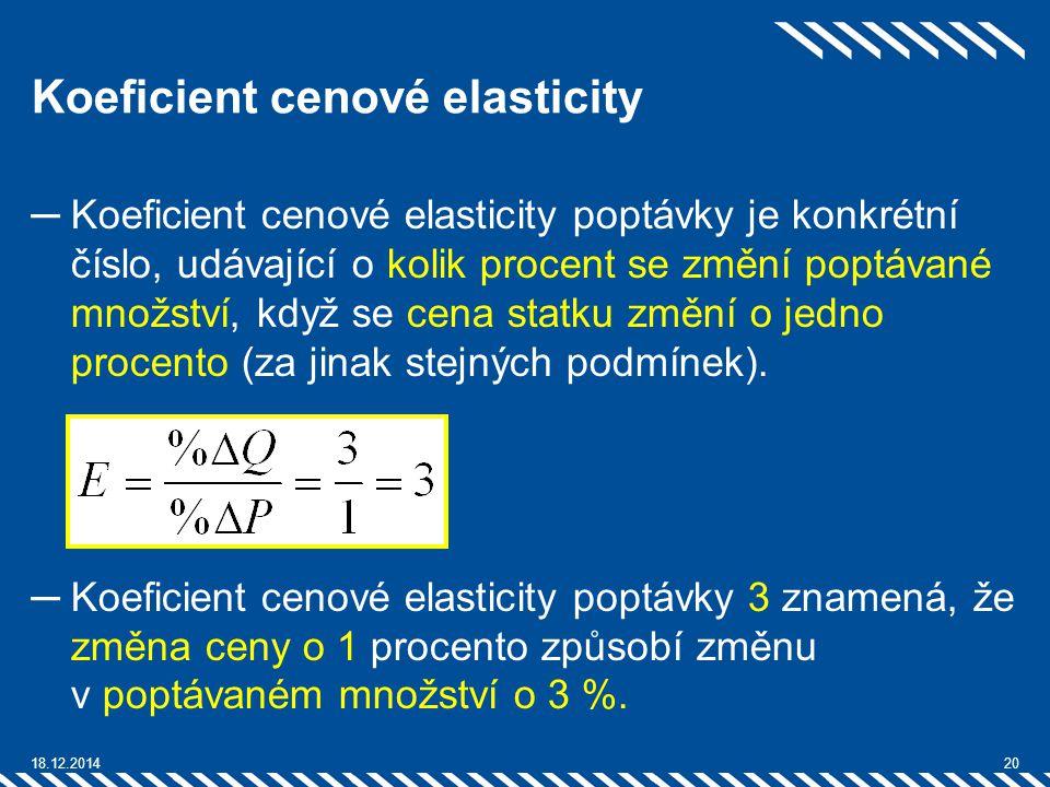 Koeficient cenové elasticity ─Koeficient cenové elasticity poptávky je konkrétní číslo, udávající o kolik procent se změní poptávané množství, když se