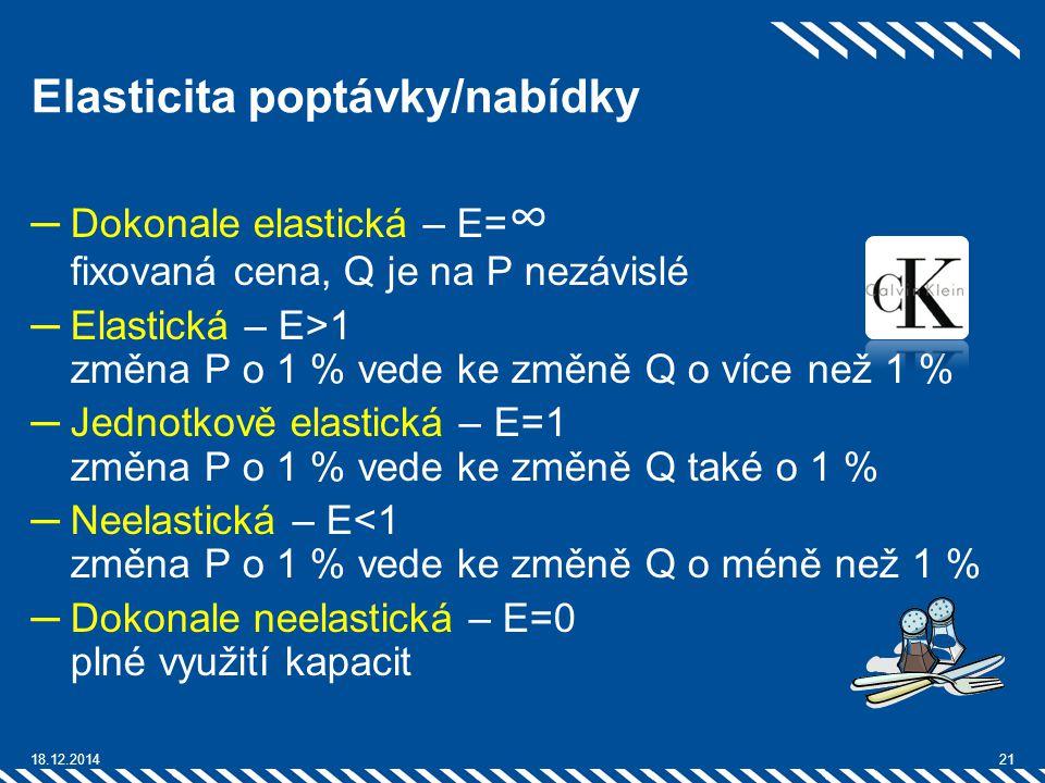Elasticita poptávky/nabídky ─Dokonale elastická – E= ∞ fixovaná cena, Q je na P nezávislé ─Elastická – E>1 změna P o 1 % vede ke změně Q o více než 1