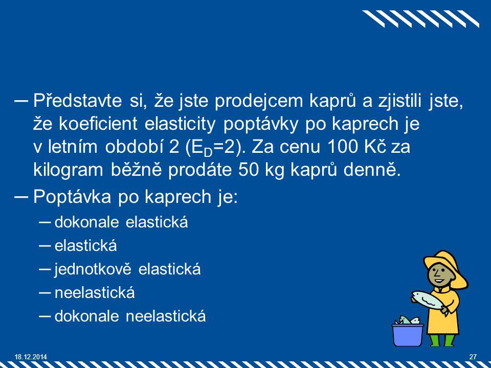─Představte si, že jste prodejcem kaprů a zjistili jste, že koeficient elasticity poptávky po kaprech je v letním období 2 (E D =2). Za cenu 100 Kč za