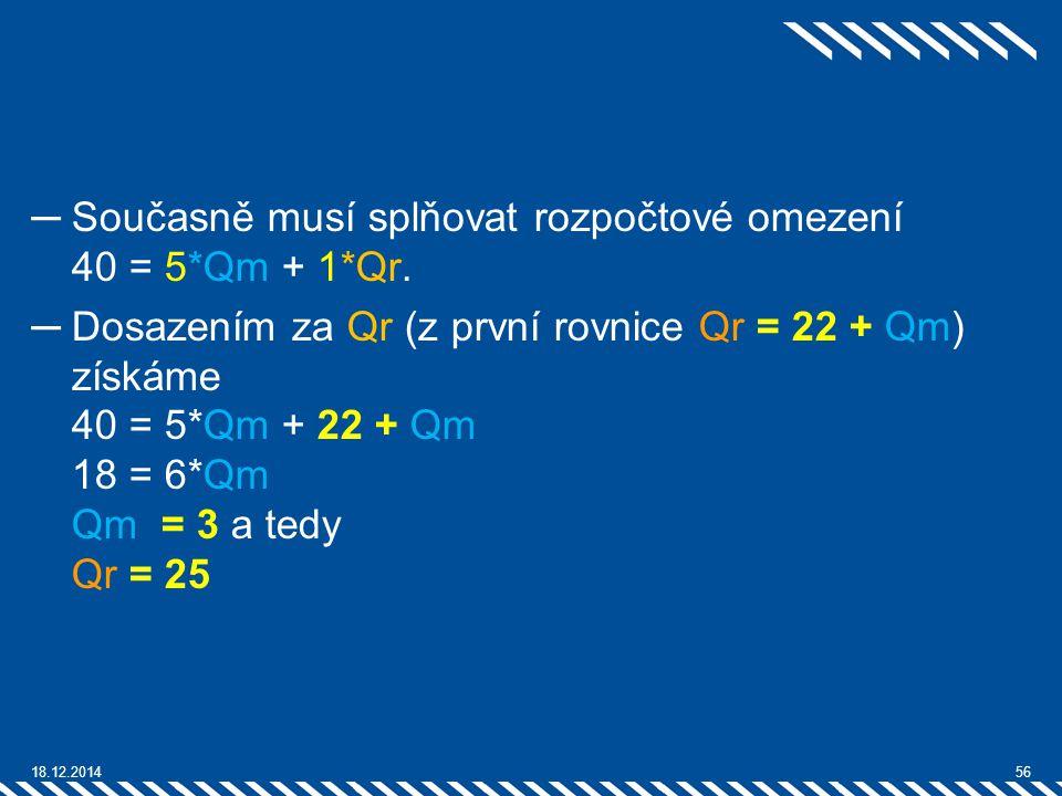 ─Současně musí splňovat rozpočtové omezení 40 = 5*Qm + 1*Qr. ─Dosazením za Qr (z první rovnice Qr = 22 + Qm) získáme 40 = 5*Qm + 22 + Qm 18 = 6*Qm Qm
