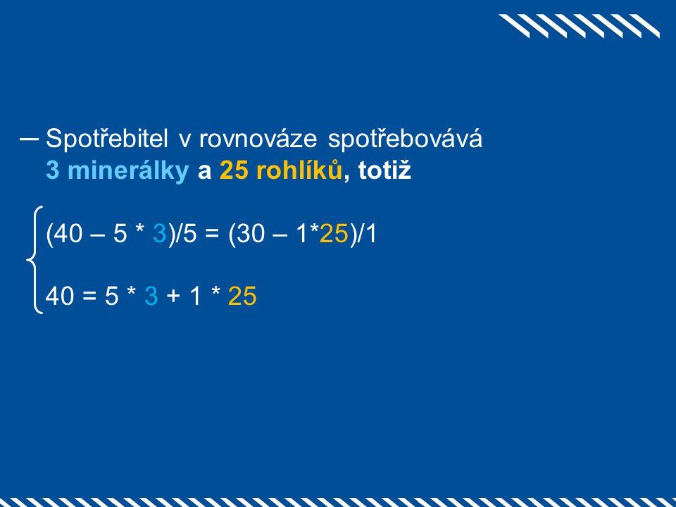 ─Spotřebitel v rovnováze spotřebovává 3 minerálky a 25 rohlíků, totiž (40 – 5 * 3)/5 = (30 – 1*25)/1 40 = 5 * 3 + 1 * 25