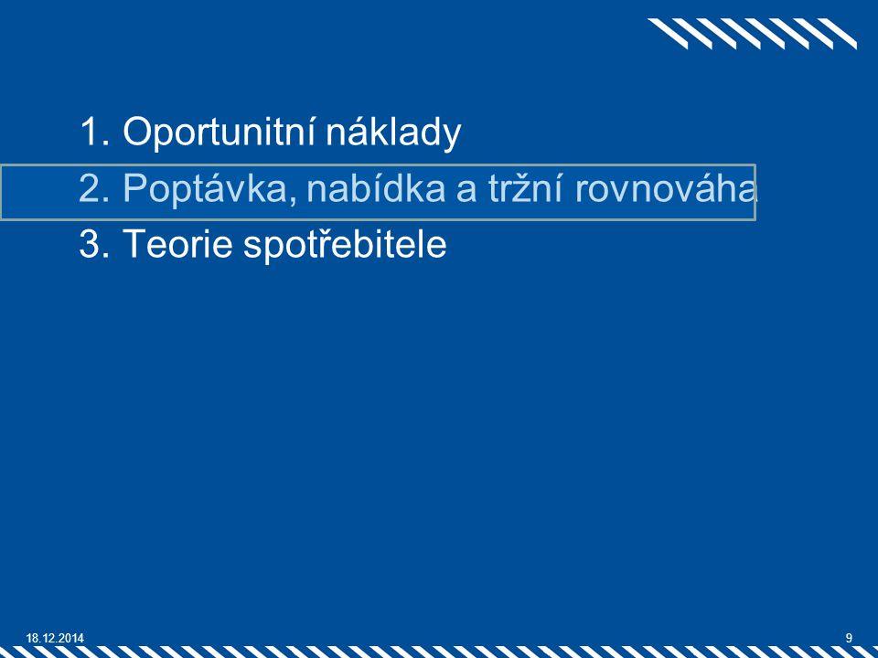1.Oportunitní náklady 2.Poptávka, nabídka a tržní rovnováha 3.Teorie spotřebitele 18.12.20149