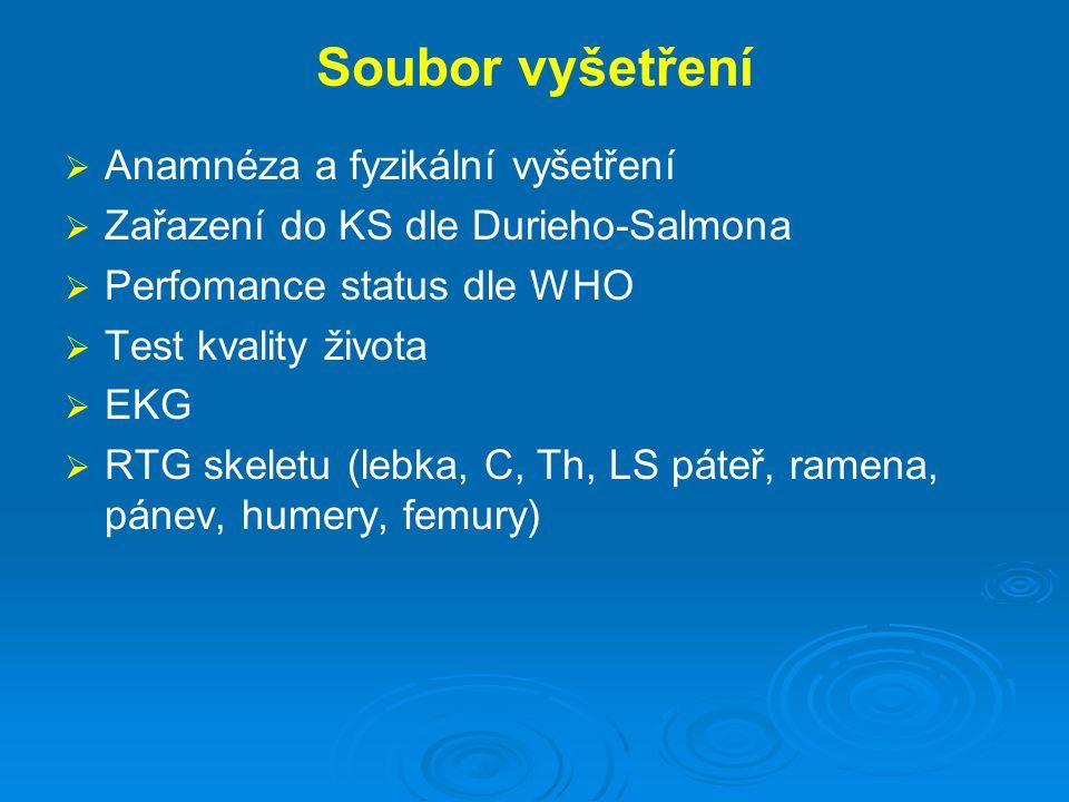 Soubor vyšetření   Anamnéza a fyzikální vyšetření   Zařazení do KS dle Durieho-Salmona   Perfomance status dle WHO   Test kvality života   E