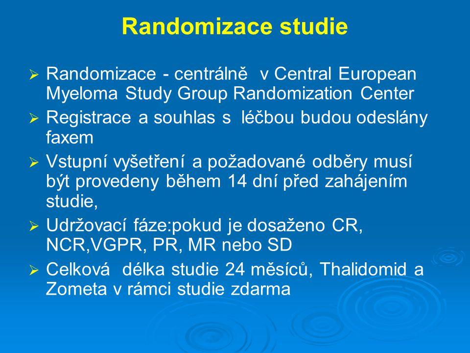 Randomizace studie   Randomizace - centrálně v Central European Myeloma Study Group Randomization Center   Registrace a souhlas s léčbou budou ode