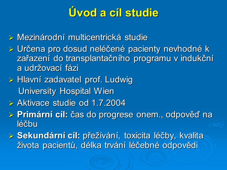 Laboratorní vyšetření I Hematologický panel: hgb, trombocyty, leukocyty, diferenciální rozpočet 20ml PK pro další testy ( při vstupu a ukončení studie) Biochemie: Ca, kreatinin, AST, ALT, ALP, LDH, GMT, celková bílkovina, albumin, kyselina močová, glu, CRP, B2mikroglobulin Elfo séra (nephelometricky pro kvantifikaci M komp.) Imunoelektroforesa séra Ig v séru kvantitativně (+3ml séra pro další výzkum- odběr na počátku cyklu)