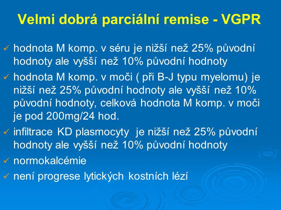 Velmi dobrá parciální remise - VGPR hodnota M komp. v séru je nižší než 25% původní hodnoty ale vyšší než 10% původní hodnoty hodnota M komp. v moči (