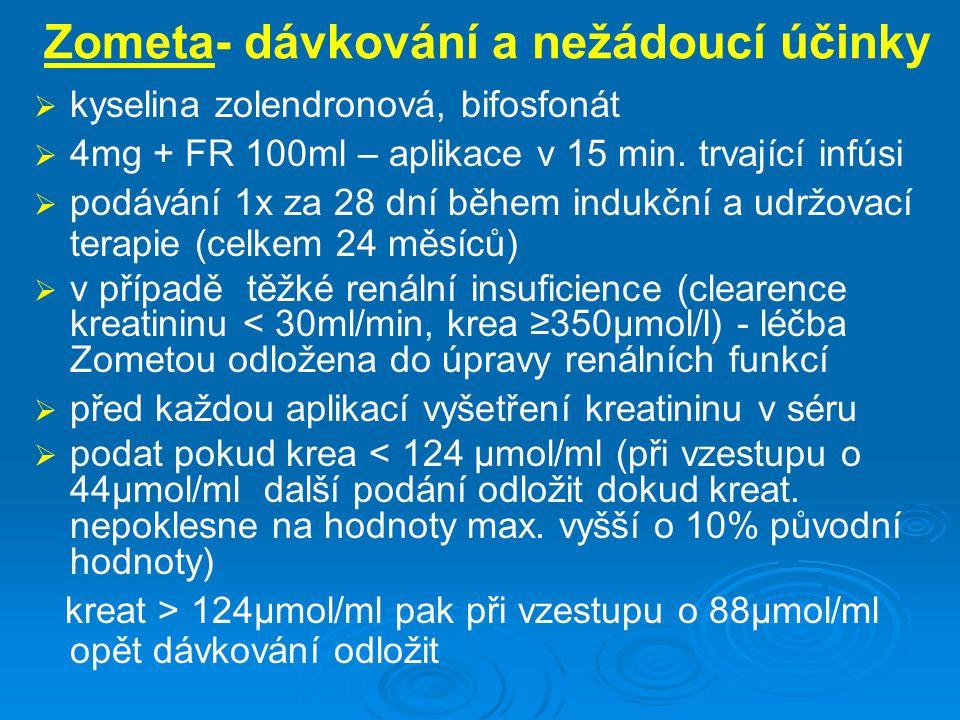 Zometa- dávkování a nežádoucí účinky   kyselina zolendronová, bifosfonát   4mg + FR 100ml – aplikace v 15 min. trvající infúsi   podávání 1x za