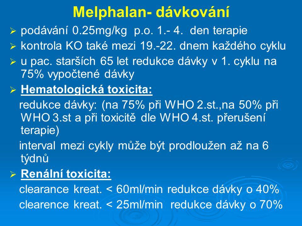 Melphalan- dávkování   podávání 0.25mg/kg p.o. 1.- 4. den terapie   kontrola KO také mezi 19.-22. dnem každého cyklu   u pac. starších 65 let re