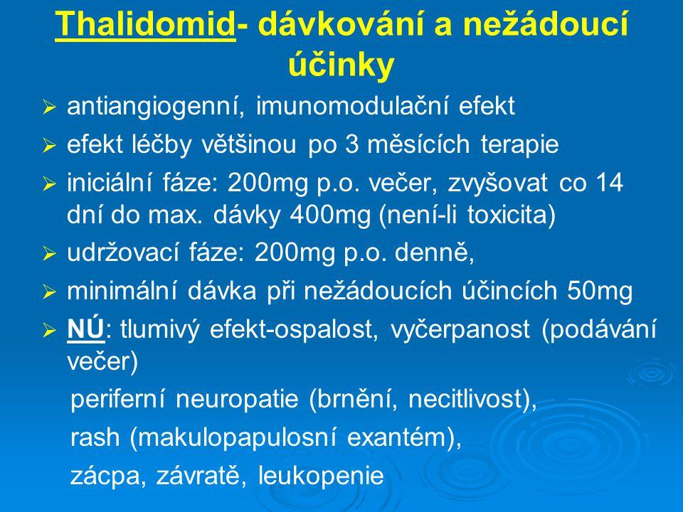 Thalidomid- dávkování a nežádoucí účinky   antiangiogenní, imunomodulační efekt   efekt léčby většinou po 3 měsících terapie   iniciální fáze: 2