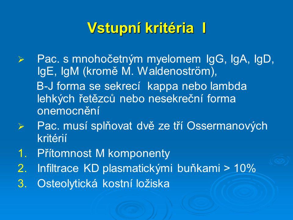 Vstupní kritéria I   Pac. s mnohočetným myelomem IgG, IgA, IgD, IgE, IgM (kromě M. Waldenoström), B-J forma se sekrecí kappa nebo lambda lehkých řet